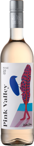 Pink Valley Wines Premium Rosé Label with Walter Battiss Blue Bird and Feather
