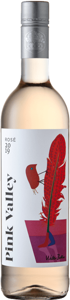 Pink Valley Wines Premium Rosé Label with Walter Battiss Red Bird and Feather